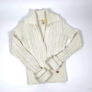 DKNY button sweater in oatmeal color